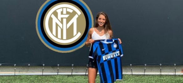 Presentazione della calciatrice Eleonora Goldoni con la maglia dell'Inter