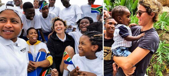 Valentina Giacinti con le ragazze della Refiloe Jane Foundation